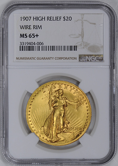 Picture of 1907 ST. GAUDENS $20, HIGH RELIEF- WIRE RIM MS65+