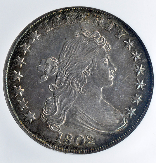 Picture of 1802/1 DRAPED BUST $1, B-4 BB-232 CLOSE DATE, HERALDIC EAGLE MS63