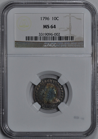 Picture of 1796 DRAPED BUST 10C, SMALL EAGLE MS64