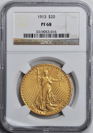 Picture of 1913 ST. GAUDENS $20, MOTTO PR68