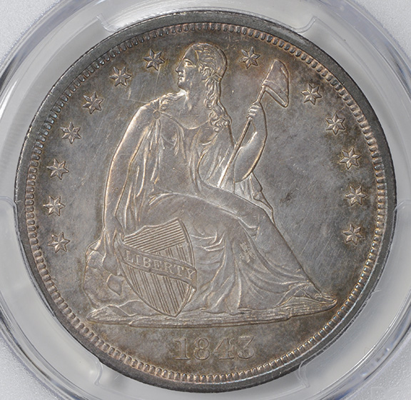 Picture of 1843 LIBERTY SEATED S$1, NO MOTTO MS64
