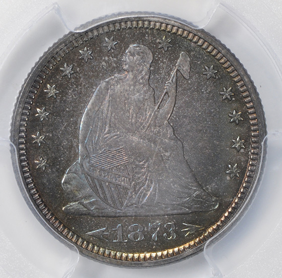 Picture of 1873 LIBERTY SEATED 25C, ARROWS, MOTTO PR67