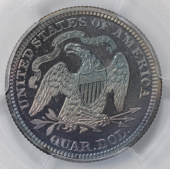 Picture of 1876 LIBERTY SEATED 25C, MOTTO PR68