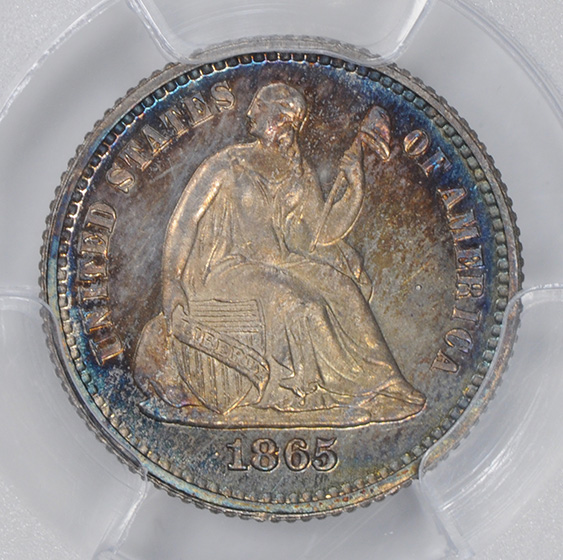Picture of 1865 LIBERTY SEATED H10C, LEGEND PR67