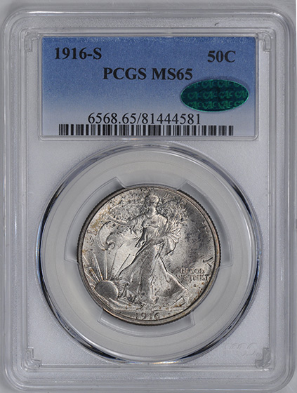 Picture of 1916-S WALKING LIBERTY 50C MS65