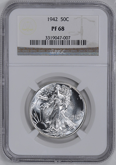 Picture of 1942 WALKING LIBERTY 50C PR68