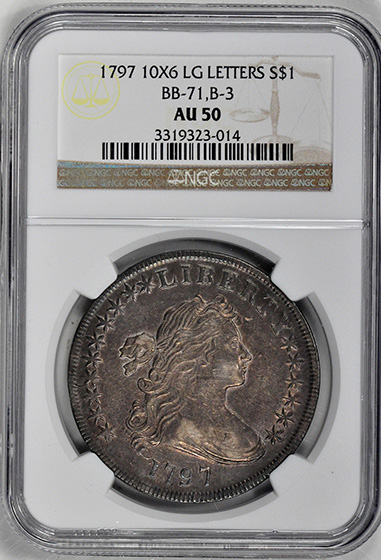 Picture of 1797 BUST $1, 10X6 STARS, SMALL EAGLE AU50