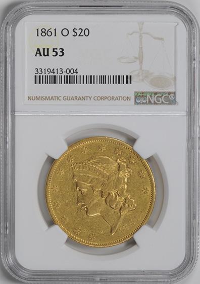 Picture of 1861-O LIBERTY $20, NO MOTTO AU53