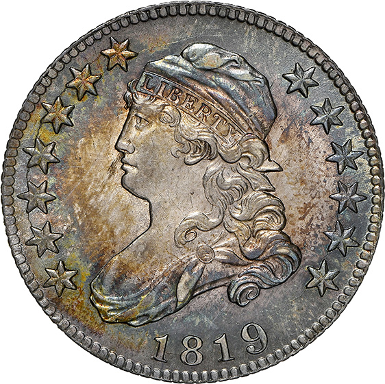 Picture of 1819 CAPPED BUST 25C, LARGE 9, LARGE SIZE MS64