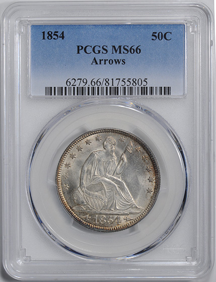 Picture of 1854 LIBERTY SEATED 50C, ARROWS, NO MOTTO MS66