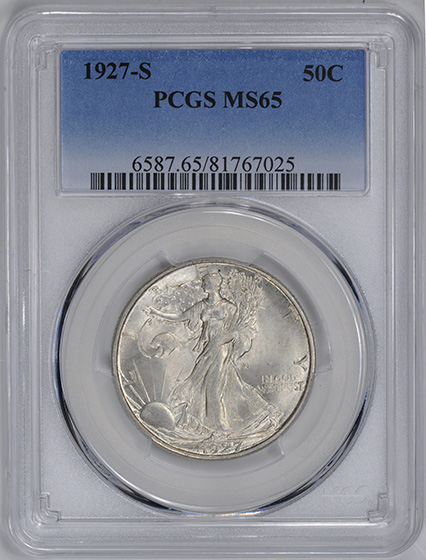 Picture of 1927-S WALKING LIBERTY 50C MS65