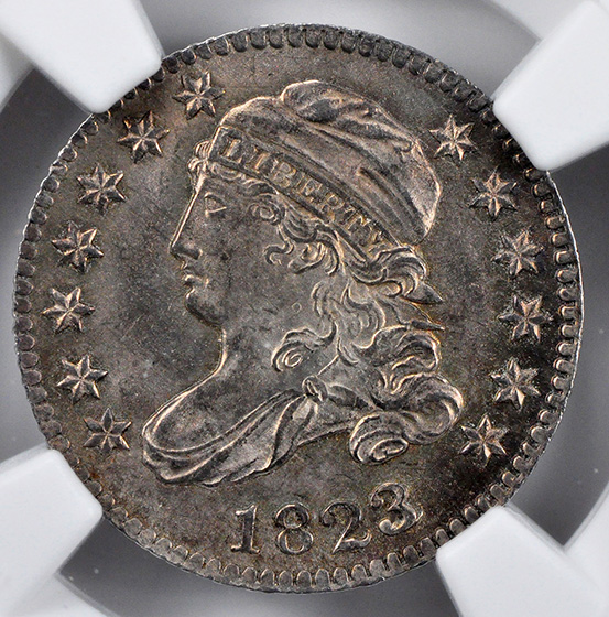 Picture of 1823/2 CAPPED BUST 10C, LARGE E'S, LARGE DENTICLES MS66