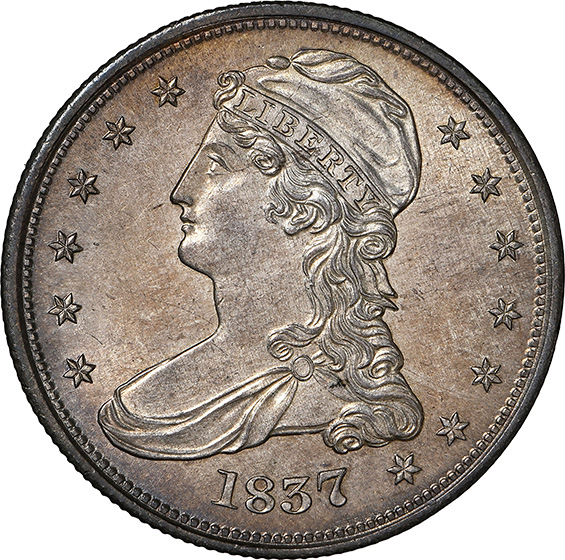 Picture of 1837 CAPPED BUST 50C, REEDED EDGE MS66