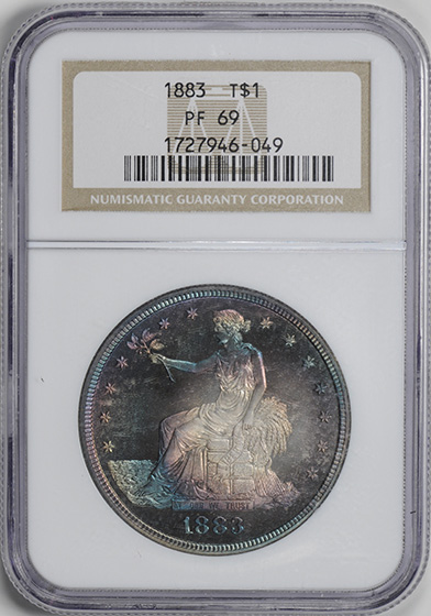 Picture of 1883 TRADE T$1, TRADE PR69