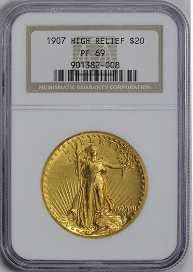 Picture of 1907 HIGH RELIEF $20, SAINT GAUDENS PR69