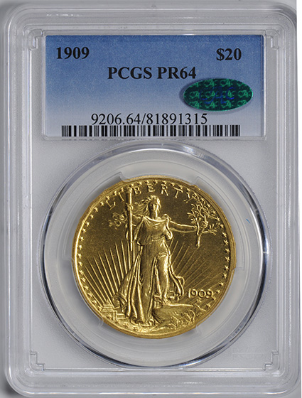 Picture of 1909 ST. GAUDENS $20, MOTTO PR64