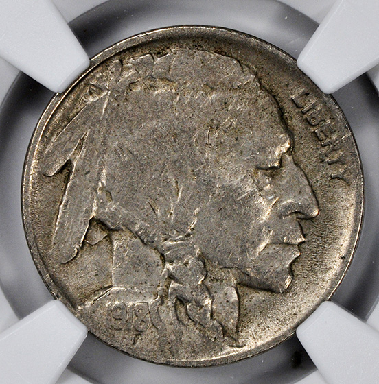 Picture of 1918/7-D BUFFALO 5C, FIVE CENTS IN RECESS XF45
