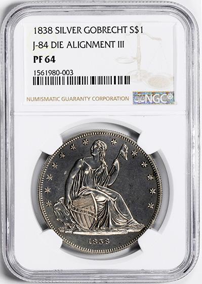 Picture of 1838 GOBRECHT S$1, J-84 RESTRIKE PR64