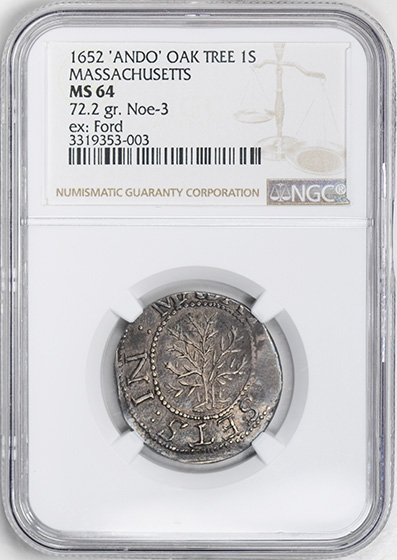 Picture of 1652 OAK TREE SHILLING, ANDO VARIETY AU64