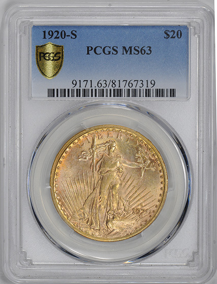 Picture of 1920-S ST. GAUDENS $20, MOTTO MS63