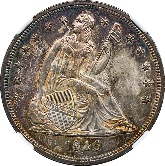 Picture of 1846 LIBERTY SEATED S$1, NO MOTTO MS65