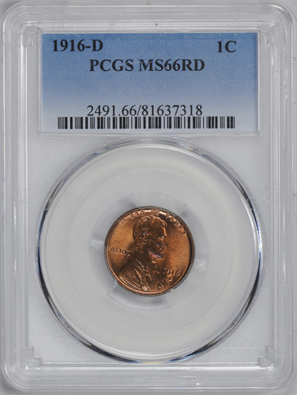 Picture of 1916-D LINCOLN BRONZE 1C, WHEAT REV MS66 Red