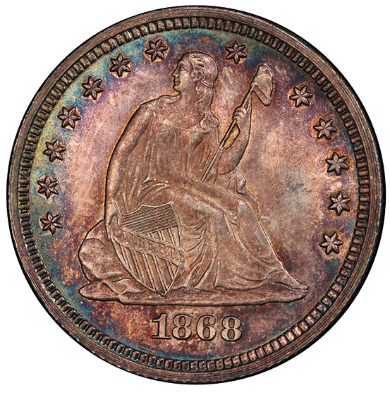 Picture of 1868 LIBERTY SEATED 25C, MOTTO MS66