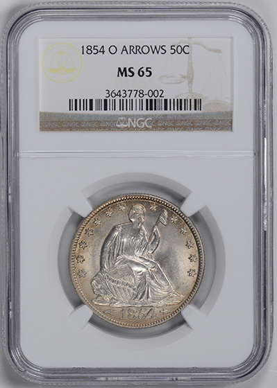 Picture of 1854-O LIBERTY SEATED 50C, ARROWS, NO MOTTO MS65
