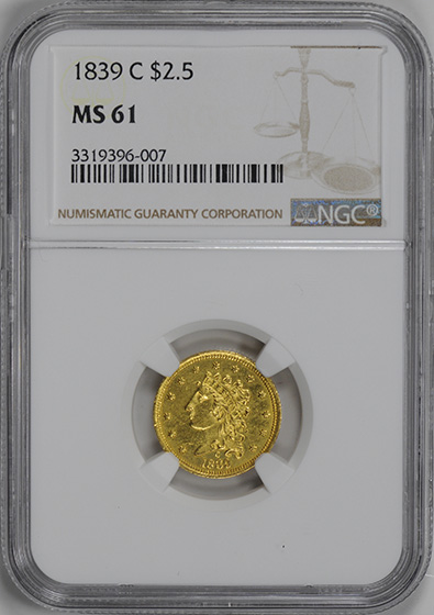 Picture of 1839-C CLASSIC $2 1/2 MS61