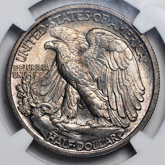 Picture of 1917-D WALKING LIBERTY 50C, OBVERSE MS66