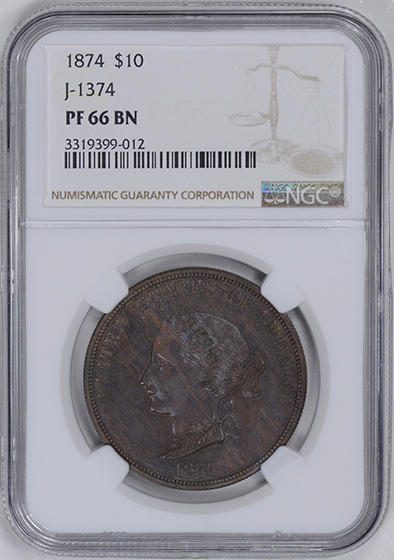 Picture of 1874 BICKFORD $10 J-1374 PR66 Brown