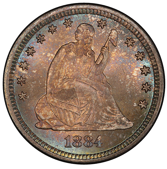 Picture of 1884 LIBERTY SEATED 25C, MOTTO MS67+