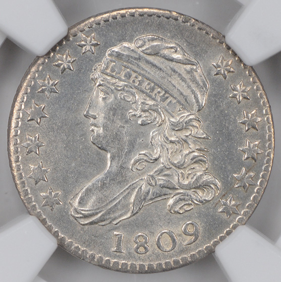 Picture of 1809 CAPPED BUST 10C, LARGE DENTICLES MS64