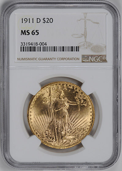 Picture of 1911-D ST. GAUDENS $20, MOTTO MS65