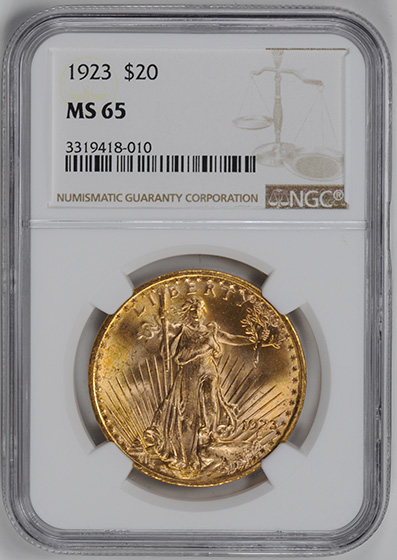 Picture of 1923 ST. GAUDENS $20, MOTTO MS65