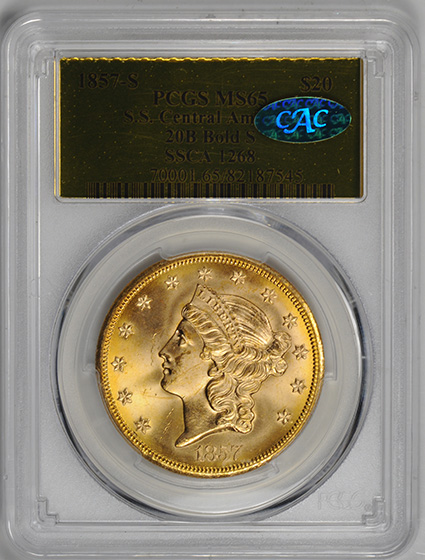 Picture of 1857-S LIBERTY HEAD $20, BOLD S, NO MOTTO MS65