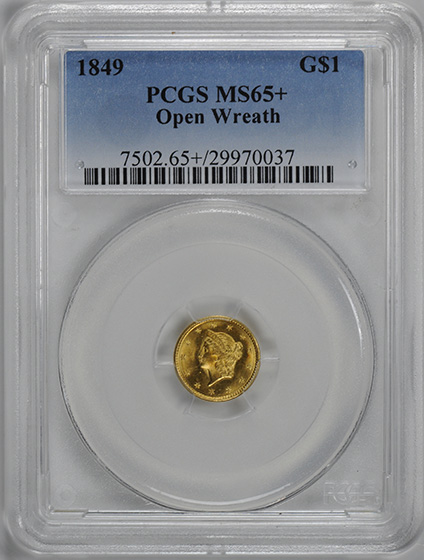 Picture of 1849 GOLD G$1 MS65+