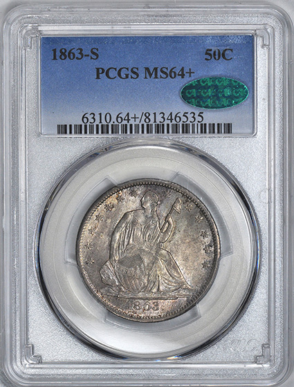 Picture of 1863-S LIBERTY SEATED 50C, NO MOTTO MS64+