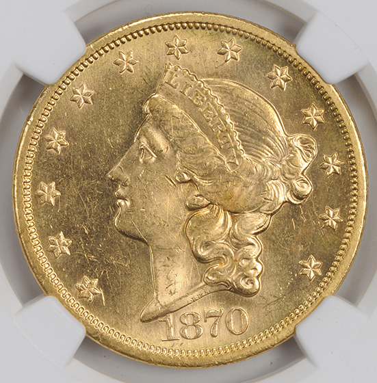 Picture of 1870-S LIBERTY $20 MS63