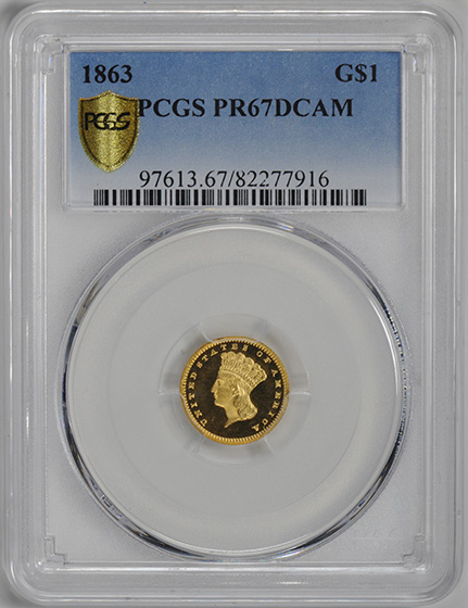 Picture of 1863 GOLD G$1, TYPE 3 PR67 Deep Cameo