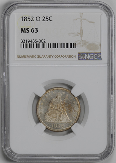 Picture of 1852-O LIBERTY SEATED 25C, NO MOTTO MS63
