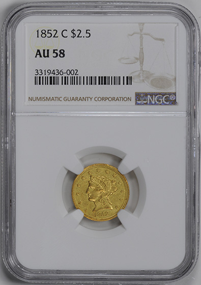 Picture of 1852-C LIBERTY $2 1/2 AU58