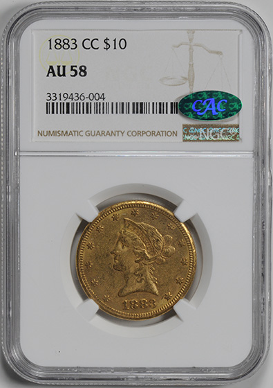 Picture of 1883-CC LIBERTY $10, MOTTO AU58