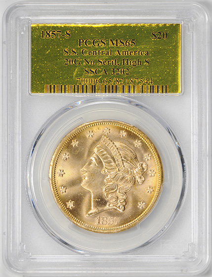 Picture of 1857-S LIBERTY HEAD $20, NO SER,HI S, NO MOTTO MS65