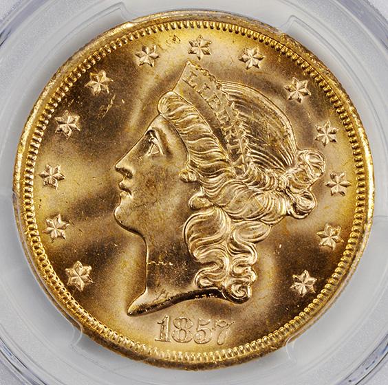 Picture of 1857-S LIBERTY HEAD $20, NO SER,HI S, NO MOTTO MS65