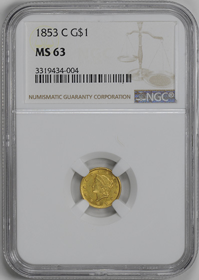 Picture of 1853-C GOLD G$1, TYPE 1 MS63
