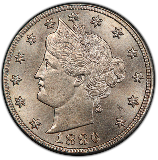 Picture of 1886 LIBERTY HEAD 5C MS66