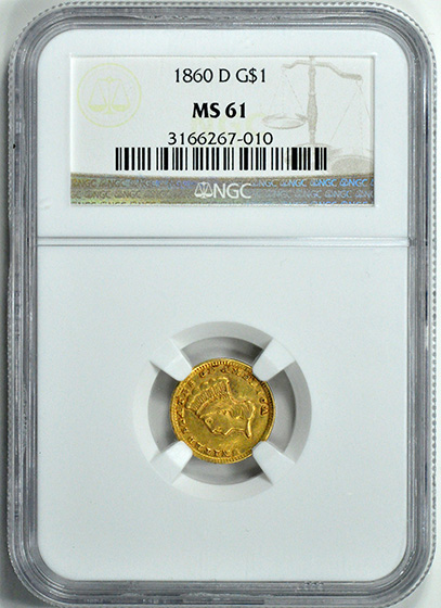 Picture of 1860-D GOLD G$1, TYPE 3 MS61