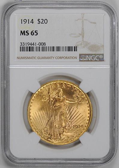 Picture of 1914 ST. GAUDENS $20, MOTTO MS65