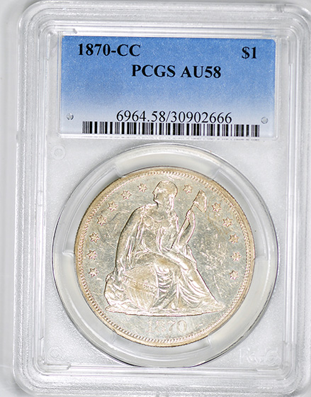 Picture of 1870-CC LIBERTY SEATED S$1, MOTTO AU58